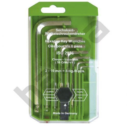 Набор шестигранных штифтовых ключей со сферической головкой, 8 шт.
