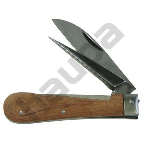 Нож для резки кабеля, с деревянной рукояткой, двухкомпонентный