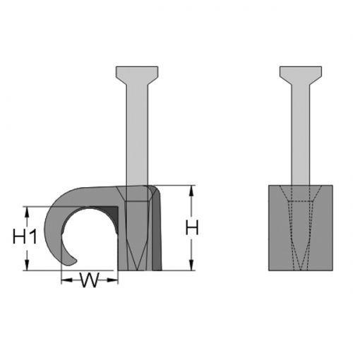 Скоба с гвоздем для крепления кабелей круглого сечения, 2-3, цвет  прозрачный