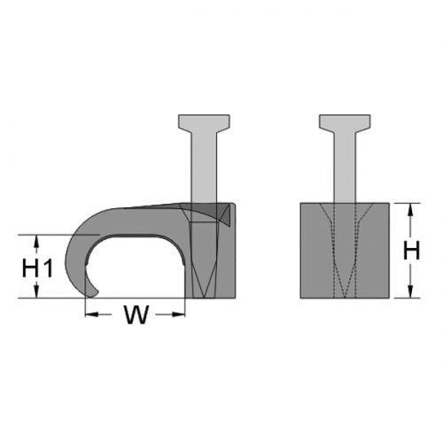 Скоба с гвоздем для крепления плоских кабелей 2х4, цвет прозрачный