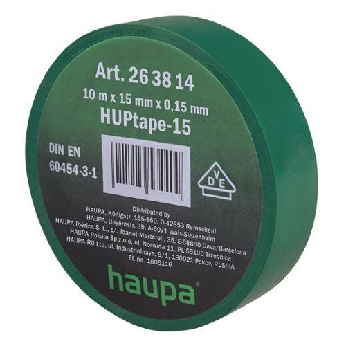 Изолента ПВХ, цвет зеленый, шир. 15мм, длина 10 м, d 60 мм