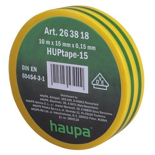 Изолента ПВХ, цвет желто-зеленый, шир. 15мм, длина 10 м, d 60 мм