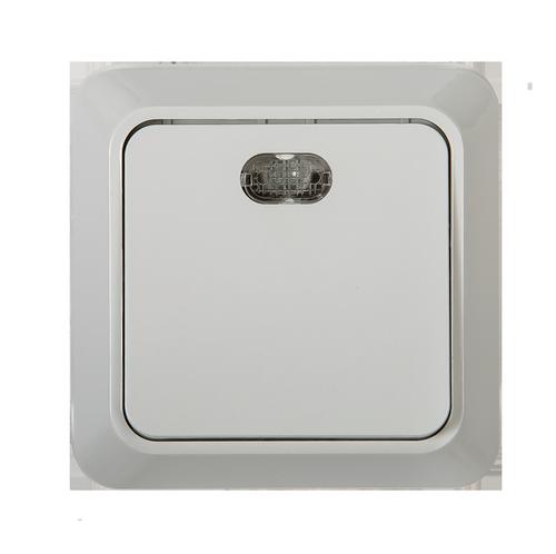 Выключатель 1кл с подсветкой BOLLETO  белый накл 7121