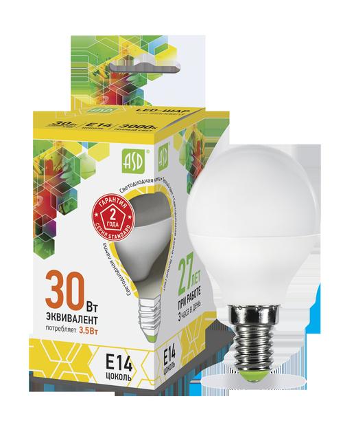 Лампа светодиодная LED-ШАР-standard 3.5Вт 230В Е14 3000К 320Лм ASD