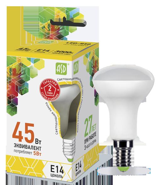 Лампа светодиодная LED-R50-standard 5Вт 230В Е14 3000К 450Лм ASD