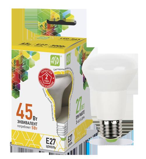 Лампа светодиодная LED-R63-standard 5Вт 230В Е27 3000К 450Лм ASD