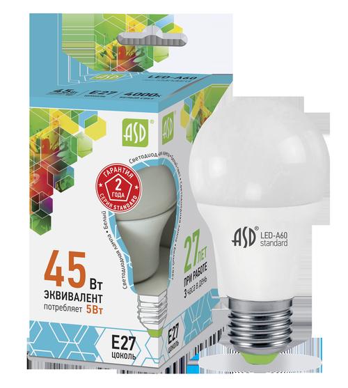 Лампа светодиодная LED-A60-standard 5Вт 230В Е27 4000К 450Лм ASD