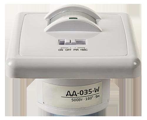 Датчик движения инфракрасный ДД-035-W оптико-акустический 500Вт 160 гр.9м IP20 белый LLT