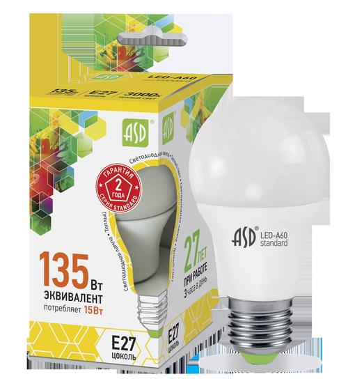 Лампа светодиодная LED-A60-standard 15Вт 230В Е27 3000К 1350Лм ASD