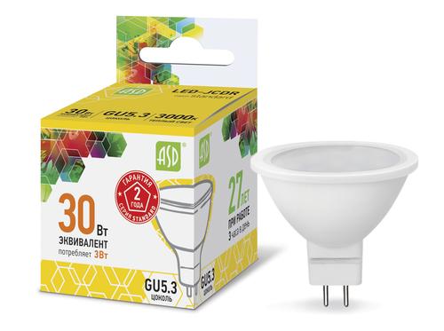 Лампа светодиодная LED-JCDR-standard 3Вт 230В GU5.3 3000К 270Лм ASD