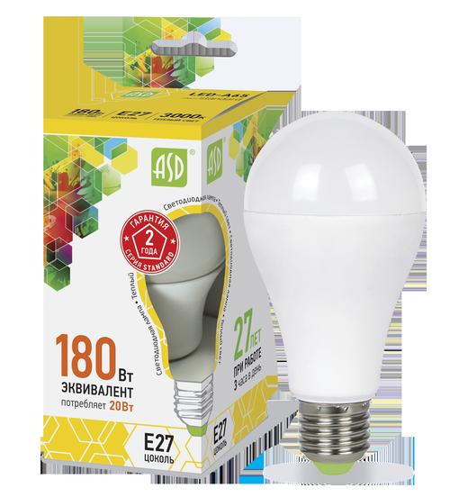 Лампа светодиодная LED-A60-standard 20Вт 230В Е27 3000К 1800Лм ASD