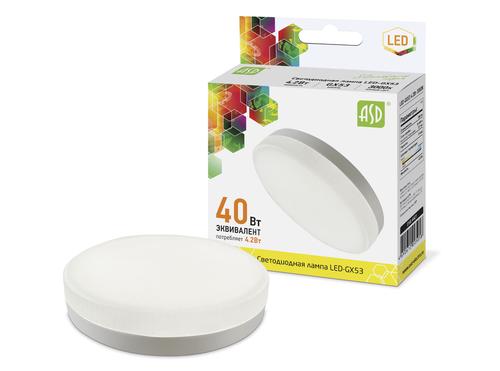 Лампа светодиодная LED-GX53-standard 4.2Вт 230В 3000К 380Лм ASD