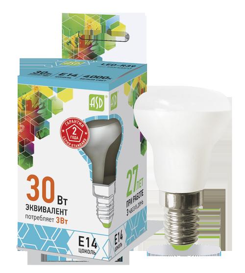 Лампа светодиодная LED-R39-standard 3Вт 230В Е14 4000К 270Лм ASD