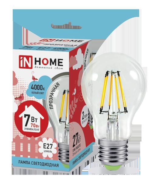 Лампа светодиодная LED-A60-deco 7Вт 230В Е27 4000К 630Лм прозрачная IN HOME