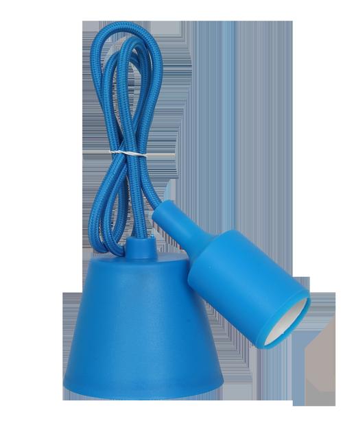 Патрон Е27 силиконовый со шнуром 1м синий IN HOME