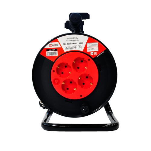 Удлинитель на катушке RG4-1020-SMART с т/з 4-х местн с з/к 10А 20м 8802 IN HOME