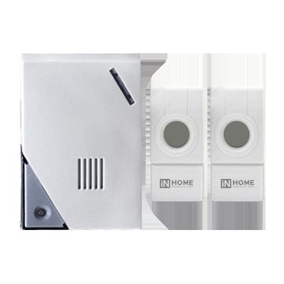 Звонок беспроводной ЗБН-5 32 мелодии 120м с цифр. кодир.с двумя кнопками IP44 БЕЛО-СЕРЫЙ IN HOME