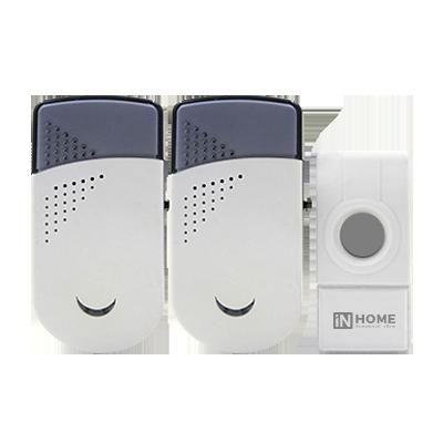 Звонок беспроводной ЗБН-6 с двумя динамиками 32 мелодии 120м с цифр. кодир. с кнопкой IP44 БЕЛО-СЕРЫЙ IN HOME