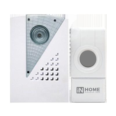 Звонок беспроводной ЗБ-7 32 мелодии 120м  с цифр. кодир. с кнопкой IP44 БЕЛО-СЕРЫЙ IN HOME
