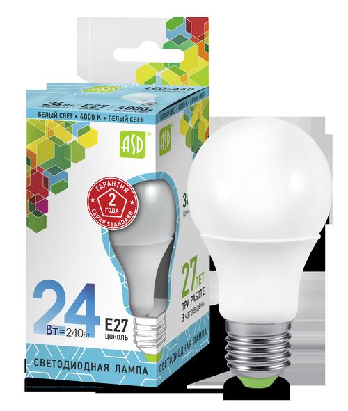 Лампа светодиодная LED-A60-standard 24Вт 230В Е27 4000К 2160Лм ASD