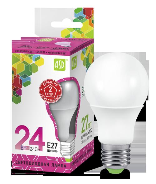 Лампа светодиодная LED-A60-standard 24Вт 230В Е27 6500К 2160Лм ASD