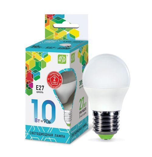 Лампа светодиодная LED-ШАР-standard 10Вт 230В  Е27 4000К 900Лм ASD