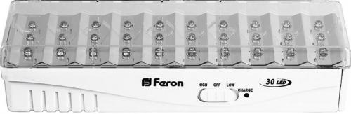 EL15 30 LED аккум.светильник DC (литий-ионная батарея), белый 203*68*45 мм