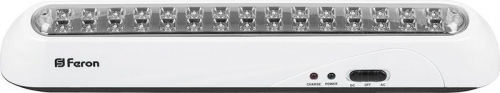 EL20 30 LED аккум.светильник AC/DC (литий-ионная батарея), белый 350*58*52 мм