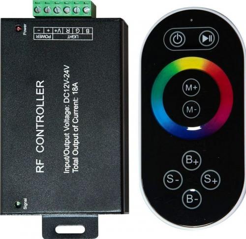 LD55 Контроллер для светодиодной ленты с П/У черный, 18А12-24V (подходит для LS606,607) 137*137*51мм