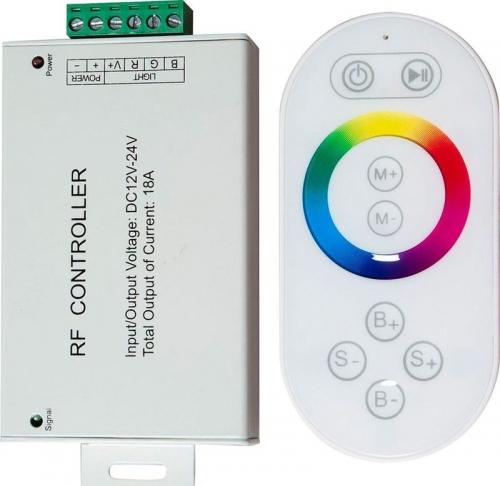LD56 Контроллер для светодиодной ленты с П/У белый, 18А12-24V (подходит для LS606,607) 137*137*51мм
