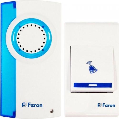 E-221 звонок (кнопка IP20) 32 мелодии, 2*1,5V/АА, белый, синий