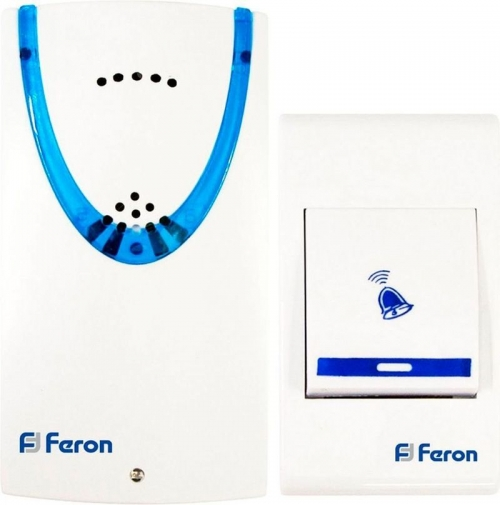 E-222 (DB605) звонок (кнопка IP20) 32 мелодии, 2*1,5V/АА, белый, синий