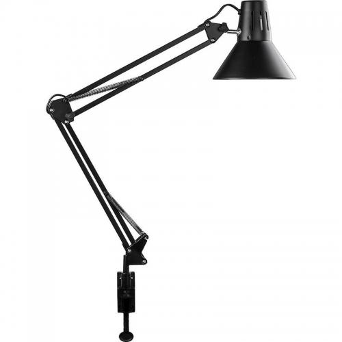 DE1430 Светильник настольный под лампу E27, max 60W, 230V на струбцине, черный