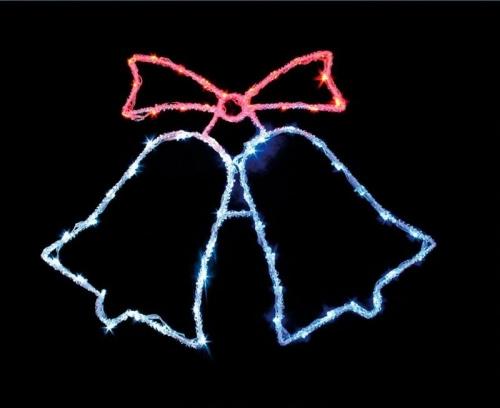 """LT013 световая фигура """"колокольчики"""" красный+белый+синий, 60 LED, 59*45см, IP20"""