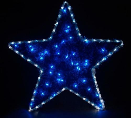 "LT015 световая фигура ""звезда"", 4м LED белый+синий, 24 LED/1м,  60*60см, IP44"