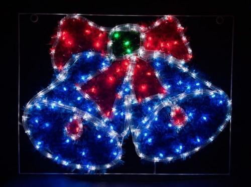"""LT016 световая фигура """"колокольчики"""", 5м LED белый+синий+зеленый+красный, 24 LED/1м,  60*45см, IP44"""