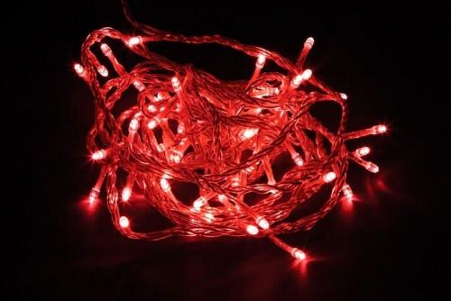 CL02 Гирлянда линейная, 20 LED красный, 2м +1.5м прозрачный шнур, IP20