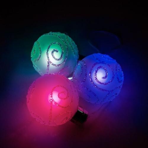"""LT034 световая фигура """"Стеклянные новогодние шары"""", 3шт*1LED, D80мм"""
