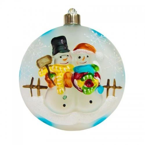 """LT050 световая  фигура стеклянная """"Ёлочная игрушка со снеговиками"""" 4 LED,  D100 мм, IP20"""