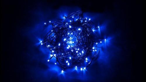 CL06 Гирлянда линейная, 200 LED синий, 20м +1.5м (с контроллером) зеленый шнур, IP20