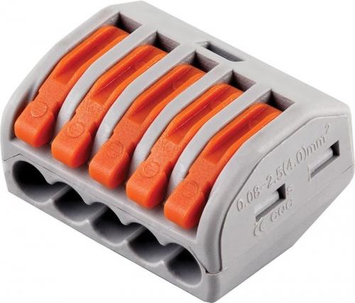 LD222-415 Cтроительно-монтажные клеммы 5-проводные  (DIY упаковка 5 шт)